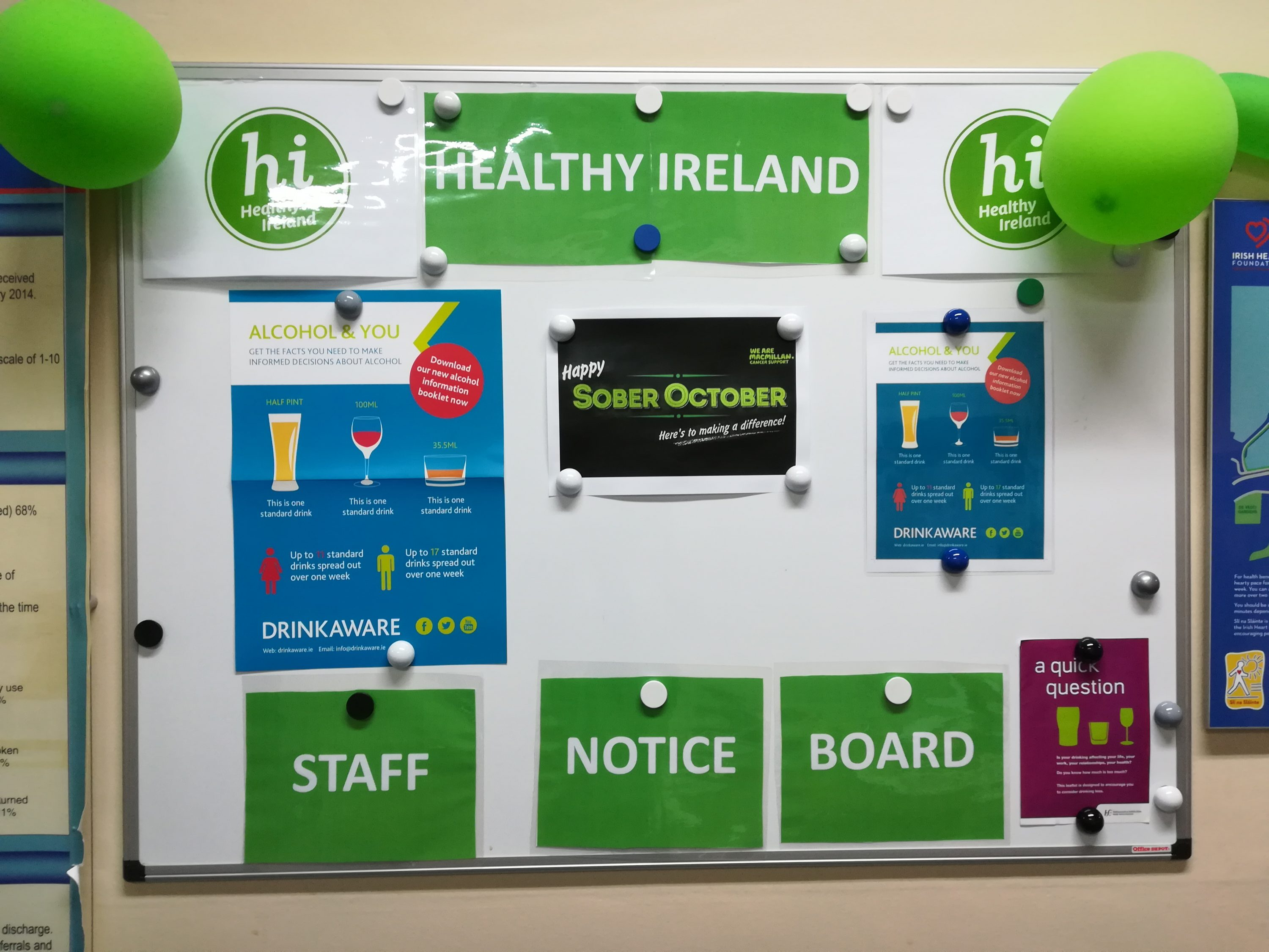 PIcture of hospital noticeboard showing Healthy Ireland branding and alcohol awareness posters.